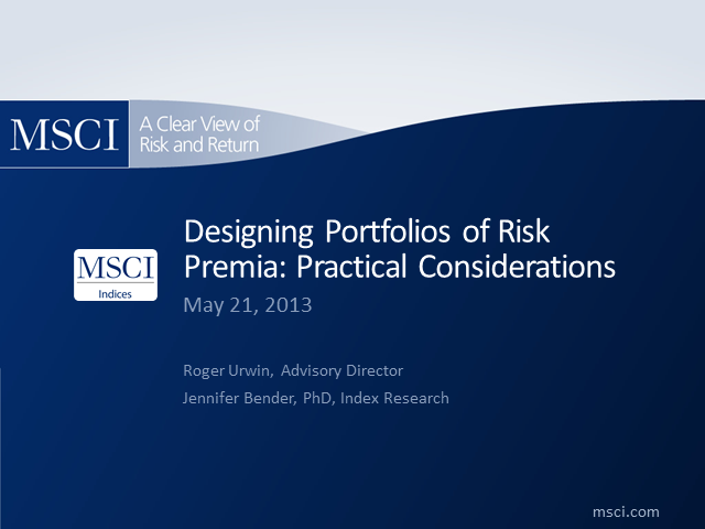 Designing Portfolios of Risk Premia: Practical Considerations