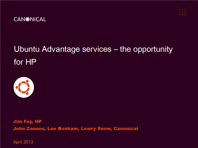 Ubuntu Advantage services – the opportunity for HP