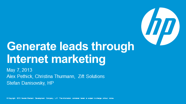 HP Campaign Syndication: Generating leads through internet marketing