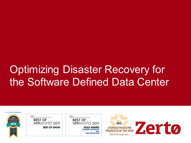 Optimizing Disaster Recovery for the Software Defined Data Center