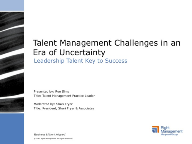 Talent Management Challenges in Era of Uncertainty