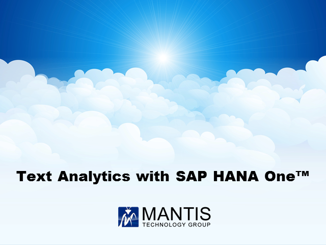 SAP HANA One Partner Success Story: Performing Text Analytics with SAP HANA One