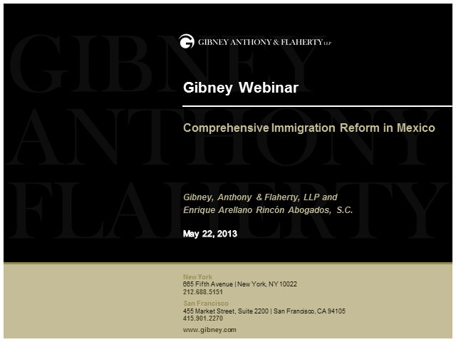 Gibney Webinar: Comprehensive Immigration Reform in Mexico