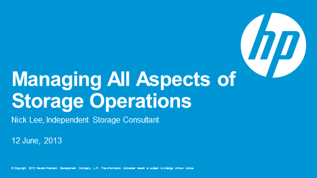 Managing All Aspects of Storage Operations
