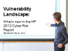Vulnerability Landscape: What's new in the HP 2012 Cyber Risk Report