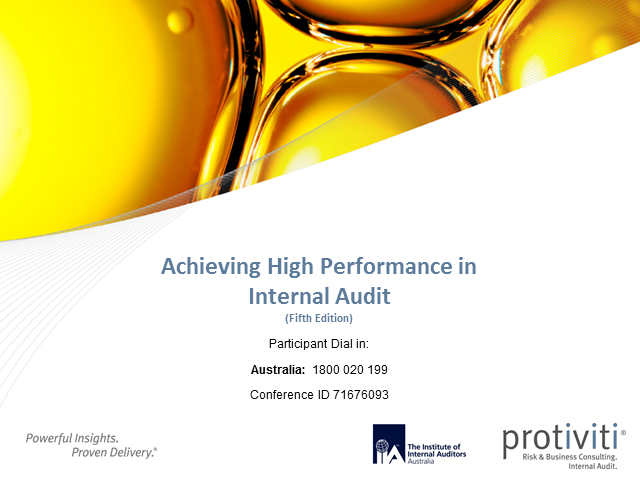 IIA-Australia/Protiviti 2013 Internal Audit Benchmarking Survey