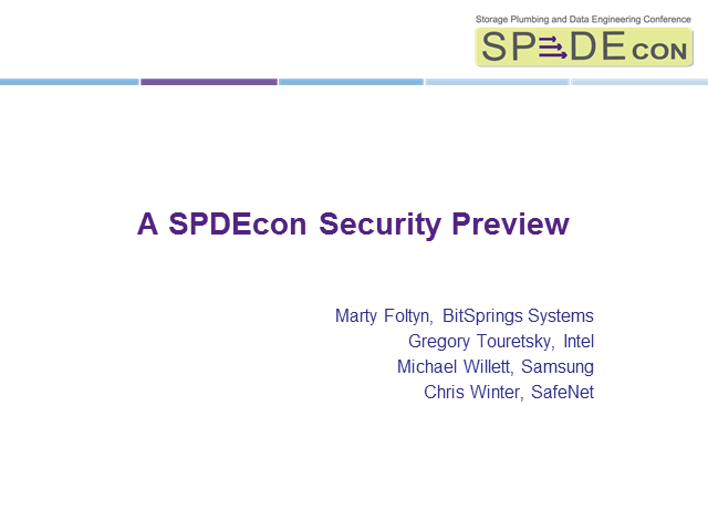 SPDEcon Security preview