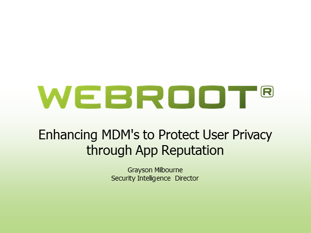 Enhancing MDM's to Protect User Privacy through App Reputation