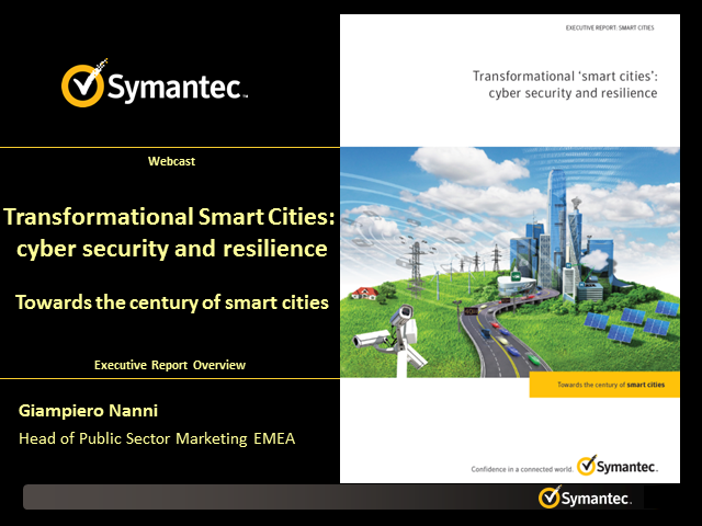 Transformational smart cities: cyber security and resilience 10:00 BST/11:00 CET