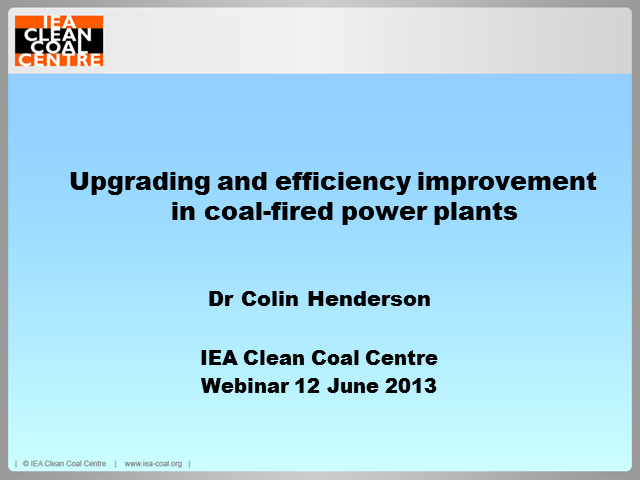 Upgrading and efficiency improvement in coal-fired power plants