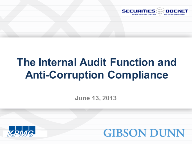 The Internal Audit Function and Anti-Corruption Compliance