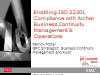 Enabling ISO 22301 Compliance with RSA Archer Business Continuity Management