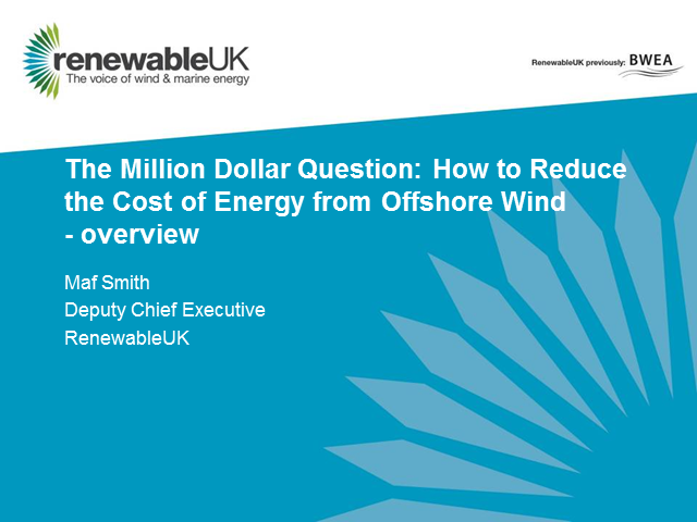 The Million Dollar Question: How to Reduce the Cost of Energy from Offshore Wind