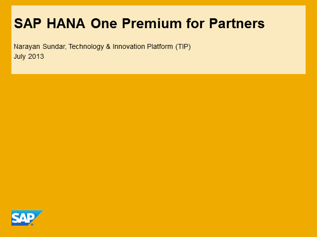 SAP HANA New Offering: SAP HANA One Premium