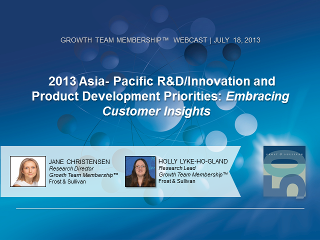 2013 Asia- Pacific Product Development Priorities: Embracing Customer Insights
