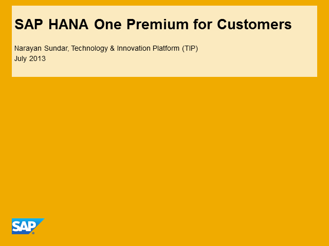 SAP HANA New Product Offering: HANA One Premium