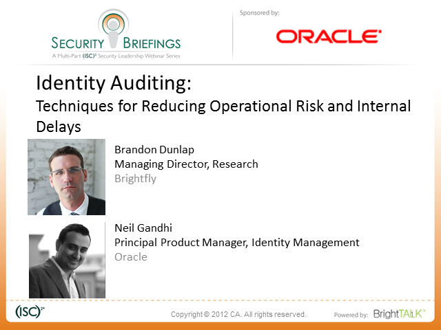 Identity Auditing: Techniques for Reducing Operational Risk and Internal Delays