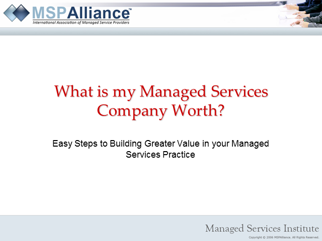 What is my Managed Services Company Worth?
