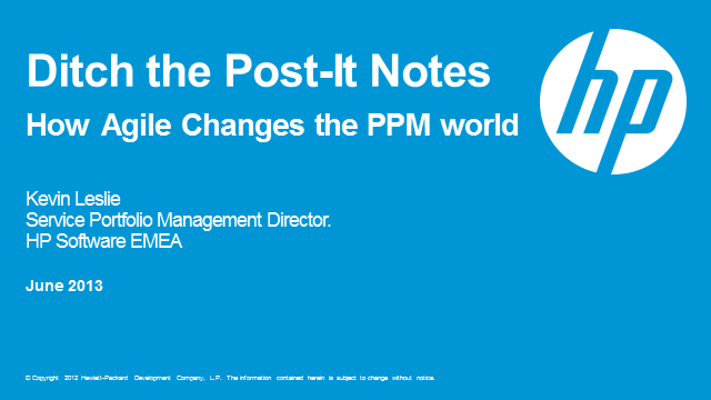 Ditch the post-it notes: How Agile Changes the PPM World