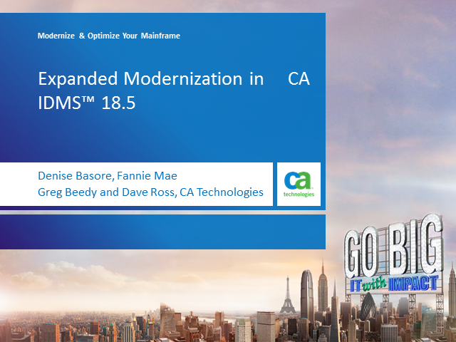 Expanded Modernization in CA IDMS 18.5