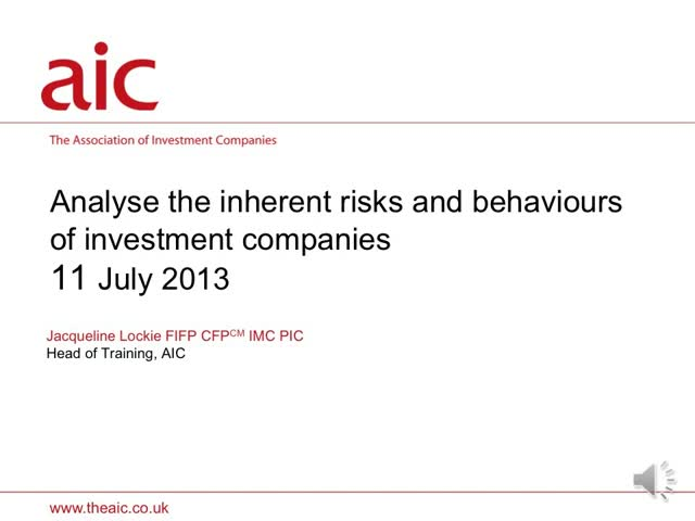 Analyse the inherent risks and behaviours of Investment companies