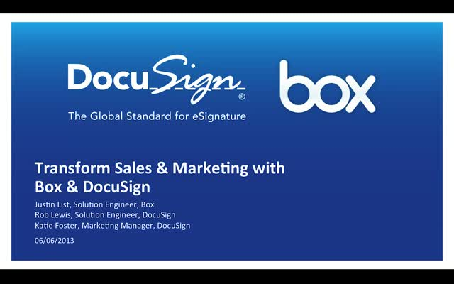 Transform Sales and Marketing With Box and DocuSign