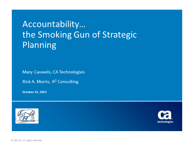 Accountability – the Smoking Gun of Strategic Planning (1 PMI PDU)