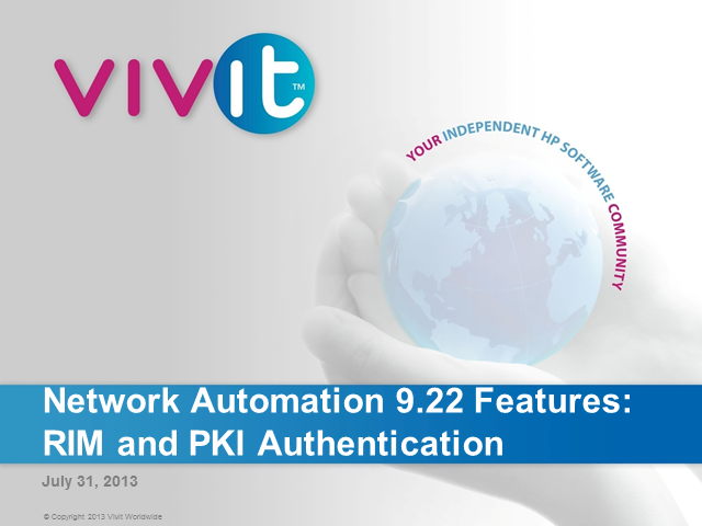 Network Automation 9.22 Features: RIM and PKI Authentication