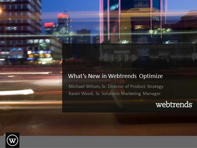 What's New in Webtrends Optimize