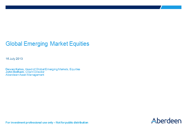 Global Emerging Market Equities Q2 Results 2013
