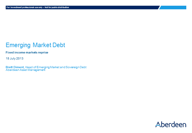 Emerging Market Debt Q2 Results 2013
