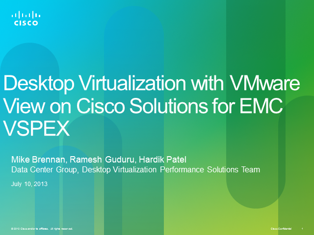 Desktop Virtualization with VMware View on Cisco EMC VSPEX