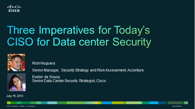 Three Imperatives for Today's CISO for Data Center Security