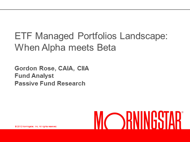 ETF Managed Portfolio Landscape: When Alpha meets Beta