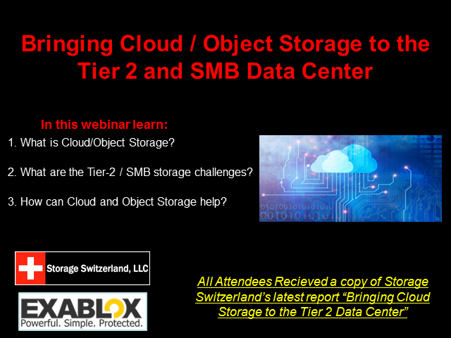 Bringing Cloud / Object Storage to the Tier 2 and SMB Data Center
