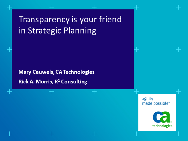Transparency is your Friend in Strategic Planning (1 PMI PDU)