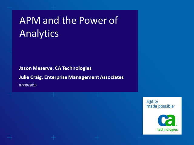 How Advanced Analytics Add Value to APM