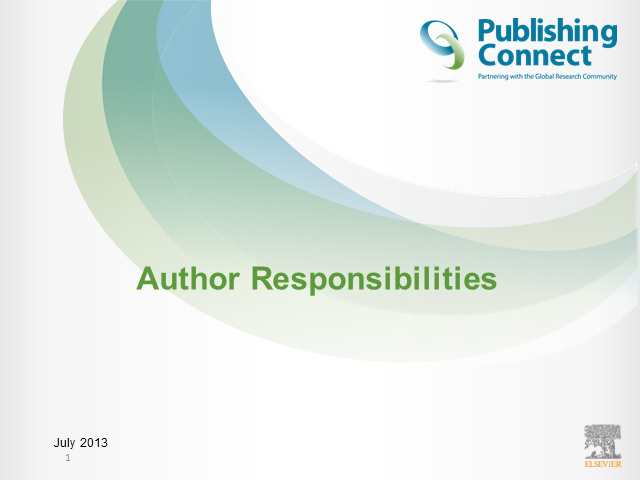 Publishing Ethics - Author Responsibilities