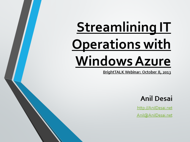Streamlining IT Operations with Windows Azure