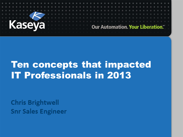 Ten Concepts that impacted IT Professionals in 2013
