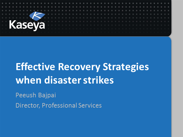 Effective recovery strategies when disaster strikes