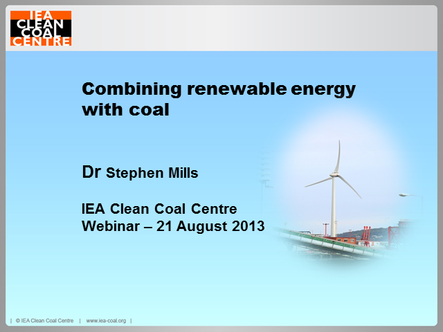 Co-utilisation of renewable energy with coal