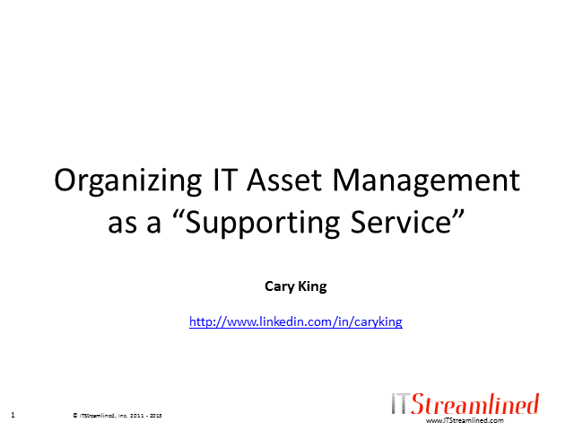 Organizing IT Asset Management as a Supporting Service