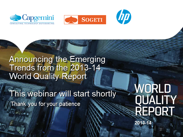 Announcing the World Quality Report 2013-14