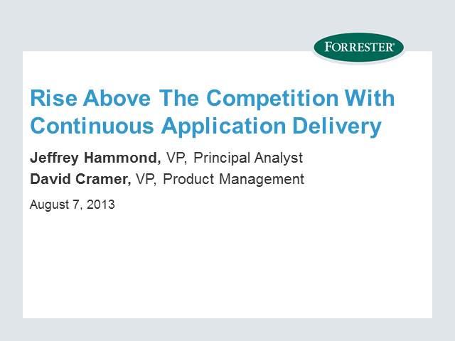 Rise Above the Competition with Continuous Application Delivery