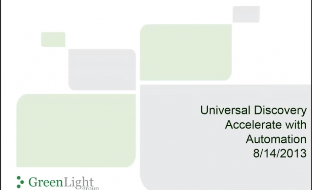 HP Universal Discovery- Accelerate with Automation