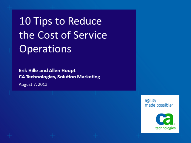 10 Tips to Reduce the Cost of Service Operations (1 priSM CPD)