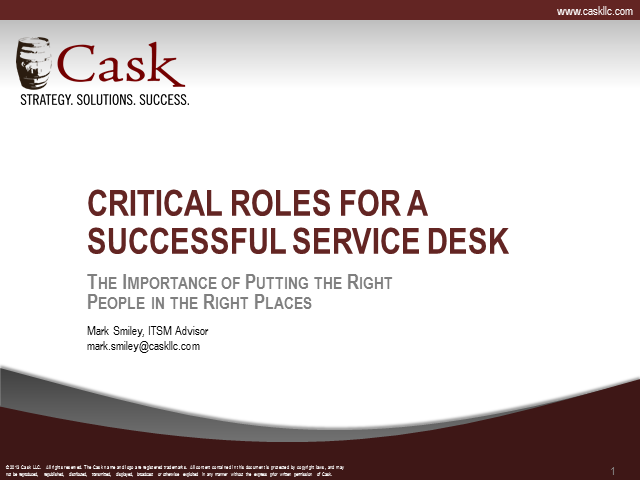 Critical Roles for a Successful Service Desk