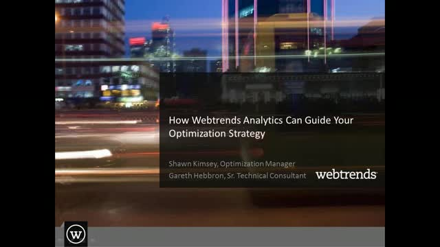 Webtrends Analytics for Optimization