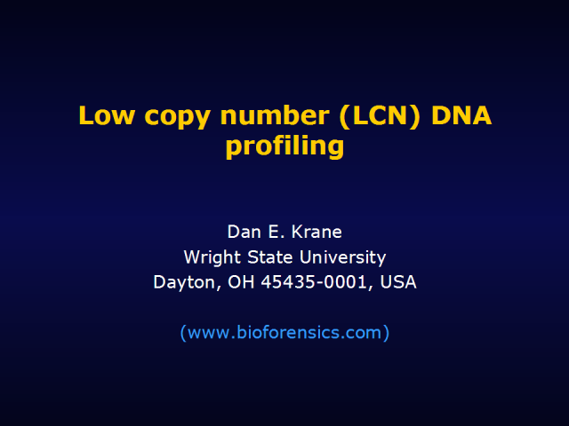 Low copy number (LCN) DNA profiling